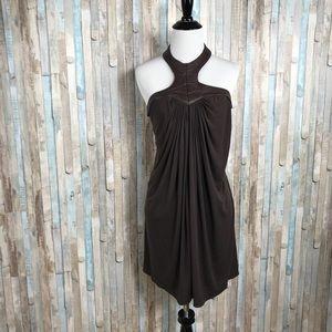 Sky Dresses - Sky Brand M Knit Faux Leather Halter Dress Draped